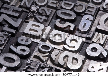 lead type letters form the word blog - stock photo