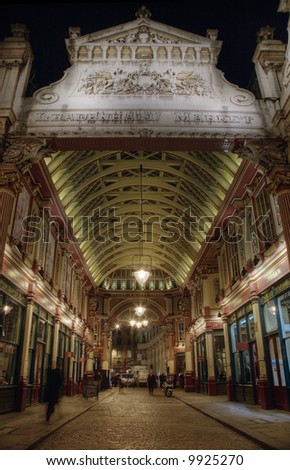Leadenhall Market in the City of London - night time HDR image - stock photo