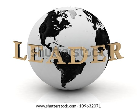 LEADER abstraction inscription around earth on a white background