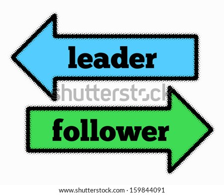 Leader and follower signs in blue and green arrows concept - stock photo
