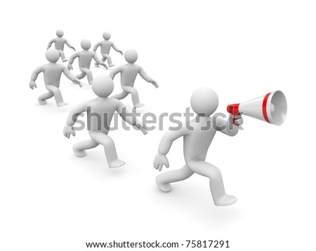 Leader and followers - stock photo