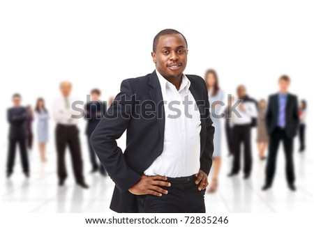 Leader and her team - stock photo