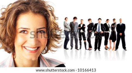 Leader and her team, young attractive business people - stock photo