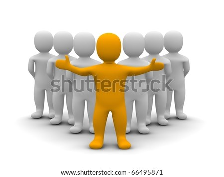Leader and his team. 3d rendered illustration. - stock photo