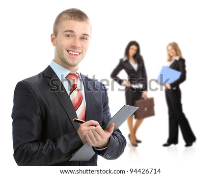 Leader and his team, Young attractive business people - stock photo