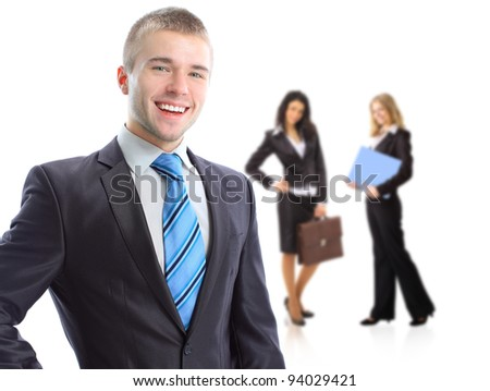 Leader and his team, young attractive business women. - stock photo