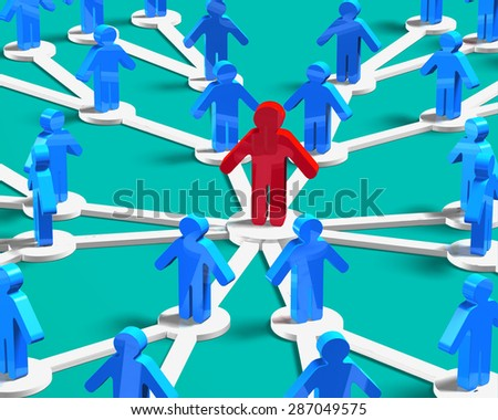 Leader and social networking concept, 3D red man in the center of blue crowd. - stock photo