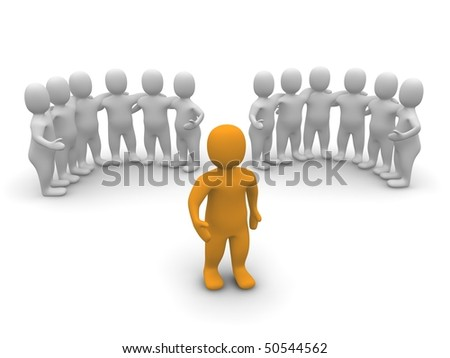 Leader and two groups. 3d rendered illustration. - stock photo