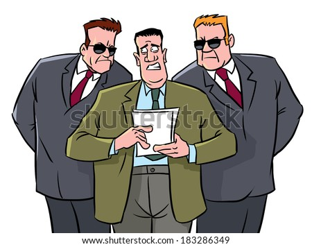 Leader and two guards or secret agent - stock photo