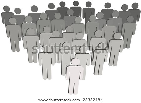 Leader at front of a team group company congregation corporation or population of 3D symbol people isolated on white.
