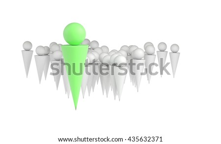 Leader businessman concept, 3d illustration - stock photo