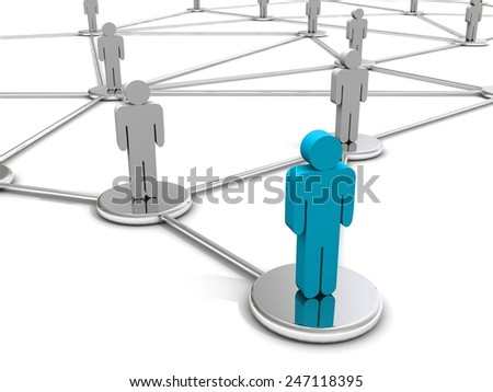 Leader concept. 3d rendering people on silver circles - stock photo