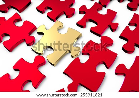 leader concept, golden puzzle in the red puzzles - stock photo