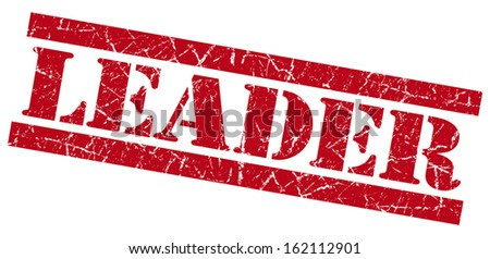 Leader grunge red stamp - stock photo