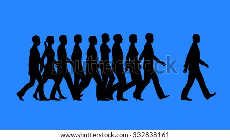 Leader heading the team. Lead by example concept. - stock photo