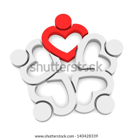 Leader Heart Team 5 - 3D isolated - stock photo