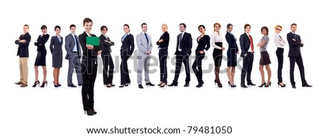 Leader holding a clipboard with business team behind, isolated - stock photo