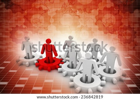 Leader is managing his work team. Network concept - stock photo