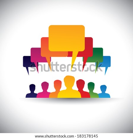 leader & leadership concept of motivating people - graphic. This illustration also represents social media communication, board meetings, student union, people's voice, company staff meetings, etc - stock photo