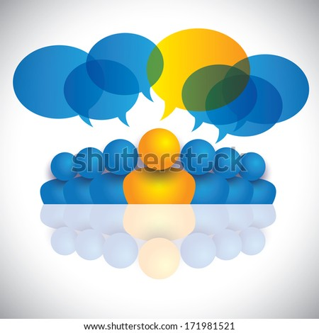 leader & leadership concept or manager & office staff. The graphic also represents people conference, social media interaction & engagement, children talking, employee discussions - stock photo