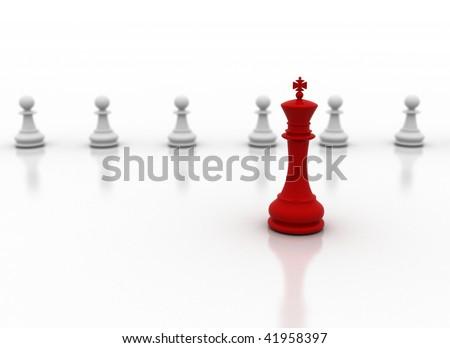 Leader - leadership illustration on white background - stock photo