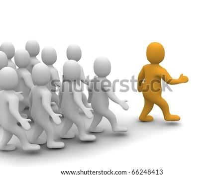 Leader leading his group. 3d rendered illustration. - stock photo