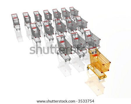 leader of the shopping business, 3d golden shopping cart - stock photo