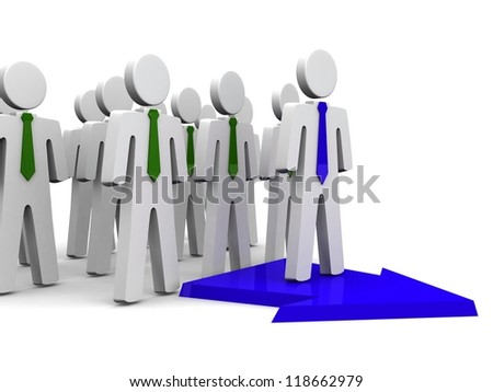 Leader of the team. Business ,Concept. 3d illustration. - stock photo