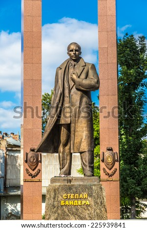 Leader of Ukrainian national movement Stepan Bandera monument  in Lviv, Ukraine. Monument was built in 2004-2007 by Mykola Posikira and Mykhailo Fedko. - stock photo