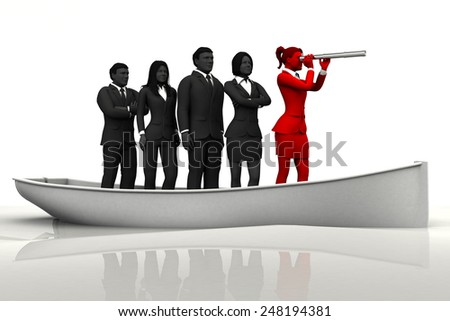 Leader on boat with a telescope. A successful team led by a great leader looking through a telescope on a boat. - stock photo