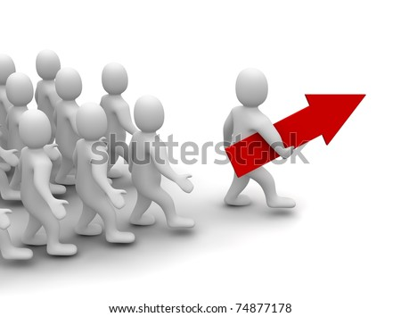 Leader on his way to success. 3d rendered illustration. - stock photo