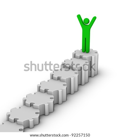 leader on top of staircase diagram - stock photo