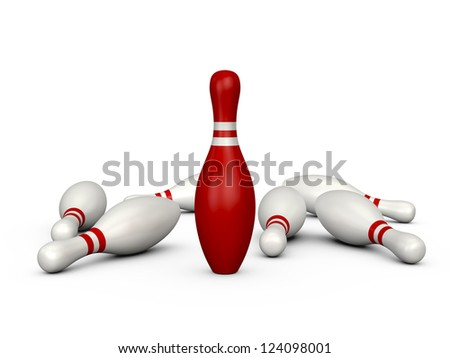 Leader red bowling pin with white stripes standing, isolated on white background. - stock photo