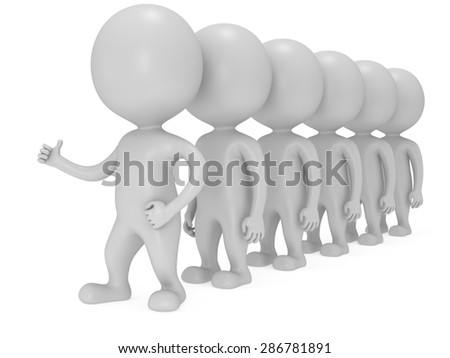 Leader showing thumbs up in front of row of people over white background. 3D render. - stock photo