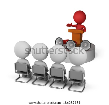 Leader speaking at the conference from the podium. 3d image. White background. - stock photo