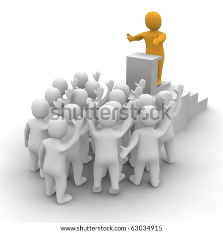 Leader speaking to audience. 3d rendered illustration. - stock photo