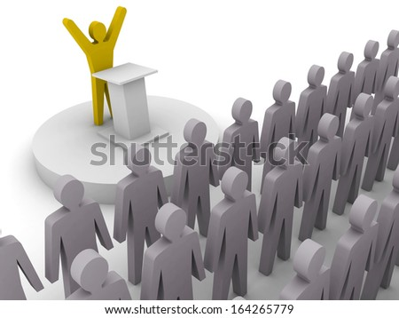 Leader speaking to crowd. Concept 3D illustration. - stock photo