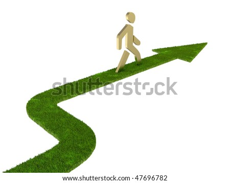 leader, walking men, grass arrow - stock photo