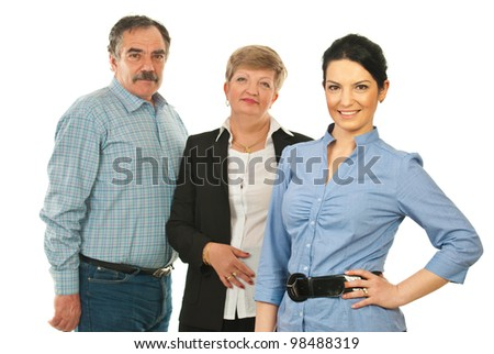 Leader young business woman in front of two mature business people isolated on white background - stock photo