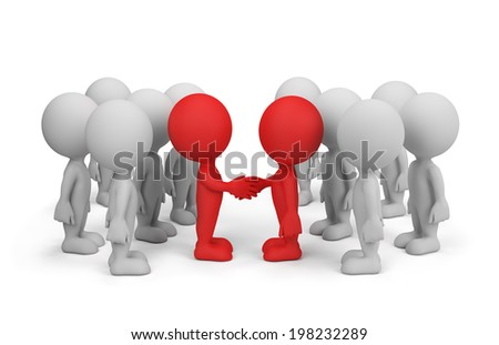 Leaders of the two sides agreed on cooperation. 3d image. White background. - stock photo