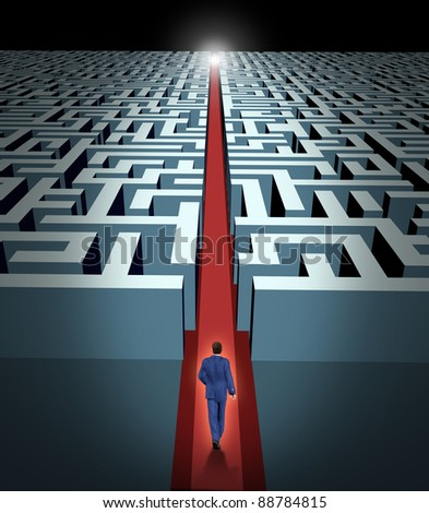 Leadership and business vision with strategy in corporate challenges and obstacles in a maze with a man in a labyrinth with a clear solution shortcut path with a red velvet carpet for success. - stock photo