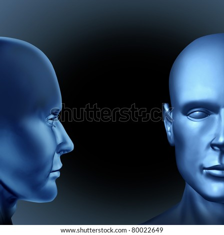 leadership and education represented by two human heads with one man communicating strategies and planning to another business man with a black background. - stock photo