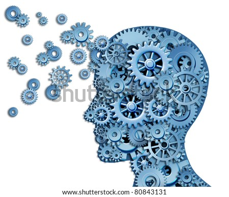 Leadership and education symbol isolated on white represented by a human head shape with gears and cogs representing the concept of intellectual property being transferred and shared with others.