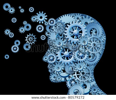 Leadership and education symbol represented by a human head shape with gears and cogs representing the concept of intellectual property being transferred and shared with others. - stock photo