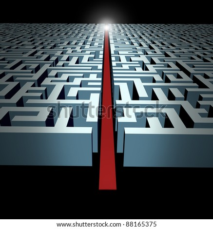 Leadership and strategy through business challenges and obstacles represented by a maze and labyrinth with a clear solution shortcut path opened with a red velvet carpet for   success and victory. - stock photo