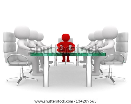 Leadership and team at conference table - This is a 3d render illustration - stock photo