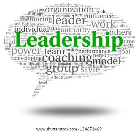 Leadership and teamwork concept in word tag cloud on white - stock photo