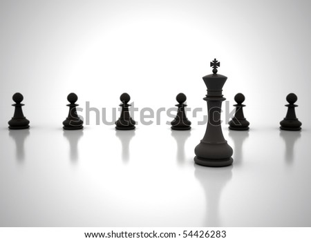 Leadership chess king in front - stock photo