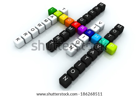 Leadership colorful box Crossword 3D render - stock photo