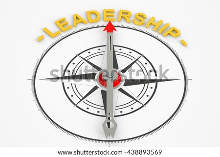 Leadership compass concept, 3D rendering - stock photo